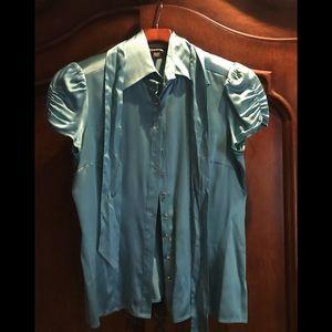 Bebe cap sleeve blouse rhinestone buttons L